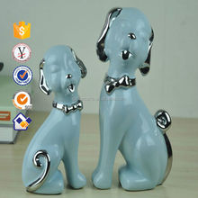 Light blue Lovely porcelain dog figurine Indoor porcelain animals two dog's figure