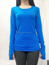 Manufacturers Selling Hand Clasp Design Hollow Out Back Women Fitness Long Sleeve T-shirt