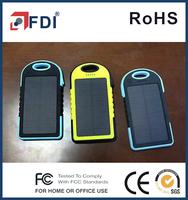 5000mAh Rain/Dirt/Shockproof Solar Panel Charger Dual USB Port Portable Charger Backup External Battery Power