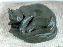 Sleeping abstract cat stone cat sculpture