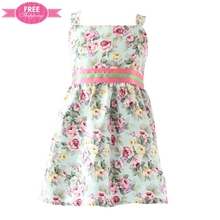 ShiJ Beautiful Clothes For Baby Striped Flower Printed Strapless Dress Child