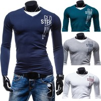 2015 Men's casual slim fit T-shirt fashion printing Long Sleeve, 4 colors