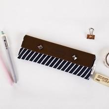 Korea style cartoon leather simple pen bag