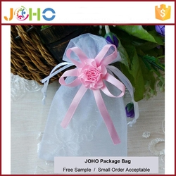 Factory Supplier Popular Design Cheap Custom hot sale organza christmas bag ideas with flower bow