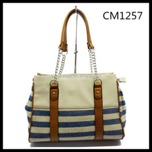 Simply Fashion Blue And White Stripe Cotton Fabric Women's Handbag