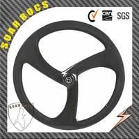 2015 SoarRocs 50mm clincher tri spokes wheel aero spoke bicycle wheel disc brake hub 3K glossy finish 3 spoke bicycle wheel