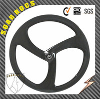50mm clincher tri spokes wheel aero spoke bicycle wheel disc brake hub 3K glossy finish 3 spoke bicycle wheels