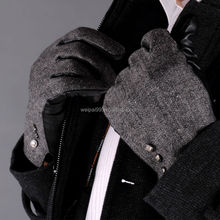 Custom made men fashion black sheepskin hand leather gloves SW-KM002