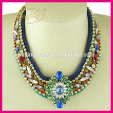Venta caliente estilo bohemio braid cuerda de gargantilla, de cristal colgante collar