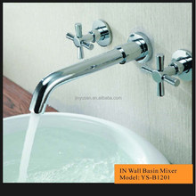 brass fasionable basin faucet two cross handle factory price wall mounted basin tap