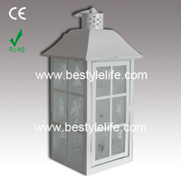 Home Decor Frosted Glass White Metal Hanging Led Candle Lantern