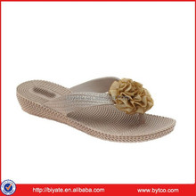 2015 New York Ladies flip flop, Woven Flip Floop with Flower