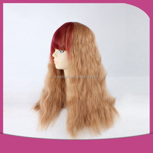Premium Highlight color Women's Medium Long Fluffy Wavy Red Brown Heat Resistant Synthetic Wigs