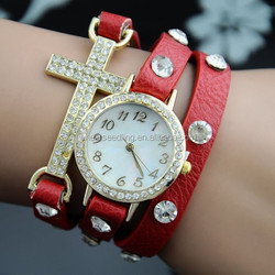 2015 delicate cross diamond leather 3 rounds vintage leather lady watch