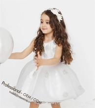 amazing white chiffon appliqued dress princess party/wedding/birthday dress for 2-12 years old girls