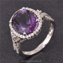 Fine Jewelry 14K Solid Rose Gold Natural Purple Amethyst 9.93CT Diamond Rings
