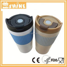 Hot sale double wall stainless steel cups with a silicone handle, color changed vacuum cups for drink
