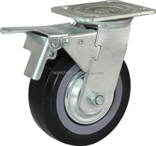 """4""""5"""" 6"""" 8"""" inch black pu wheel width 48mm two 203 bearing Galvanized Casters"""