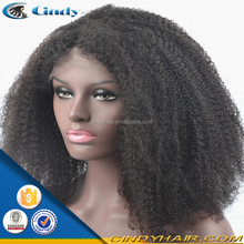 natural black short style afro curly lace front human hair wigs with parts