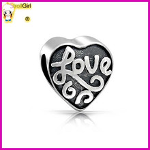 popular jewelry antique 925 silver love message heart bead for bracelet factory wholesale