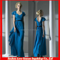 HB0147 2014 patterns OEM wholesale Sweetheart neckline popular floor length blue short sleeve long chiffon bridesmaid dress