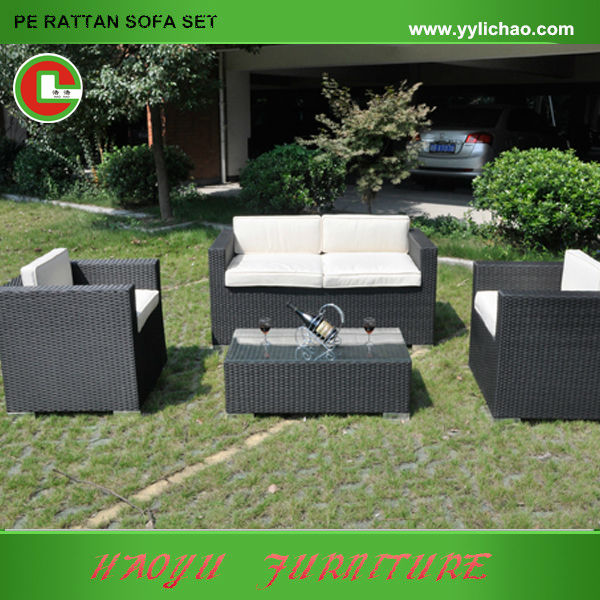 Sof rattan sint tico con cojines conjunto mueble de jard n for Conjuntos de jardin de rattan sintetico