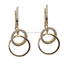 18K gold plating lady's sterling silver cz earring jewelry