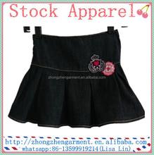 Z2517 blue 2/6Y kids wear cheap china wholesale baby girls denim skirt embroidery jean mini skirts