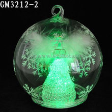 2015 hotsell fashion clear glass christmas ball ornament ball with angel inside