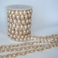 factory wholesale pearl trimming 11*15mm golden base crystal empty cup chain for wedding