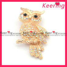wholesale fashion gold owl with AB color rhinestone brooch clips WBR-1071