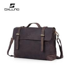 Handmade Genuine Leather Vintage bag Top Layer Cowhide Men's Casual Handbag