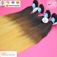 Peruvian Hot Sell Three Tone Virgin Hair Straight Weft Ombre Color Weaving