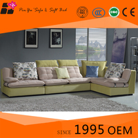 Comfortable L-Shaped Fabric Corner Couch Modern Design Sofa Bed Set for Sale