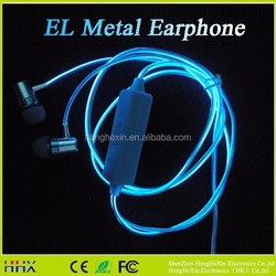 EL LED glowing light earhook earbuds, WATERPROOF headphone earphone with laser light, Support IOS and Android phones