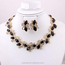 Gros africaine résine noire perles ensemble de bijoux pour femmes classique 18 k plaqué or parures