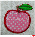 Lindo apliques bordados fruta, bordado rojo parche de apple