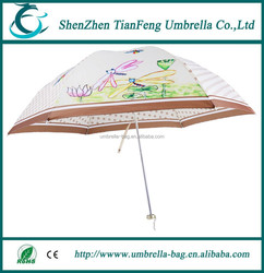 new design one fold white aluminium ribs and two fold fiber ribs fold umbrella for promotion and hot sale