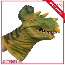 simulation pvc surface kid dinosaur/tiger/dragon/cow/lion animal hand glove puppet toy