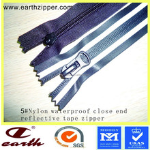factory direct best sell nylon waterproof close end zipper with reflective tape