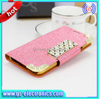 Diamond Shining Flip Leather Case for Samsung S3 S4 S5 Note2 Note3 G7106 S7272 S5830 S3 Mini S4 Mini