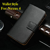 Wholesale For LG Google Nexus 4 E960 Genuine Leather Wallet Stand Case business style
