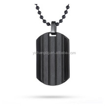 Black Ribbed Stainless Steel Dog Tag, Fashion Men's Jewelry Wholesale