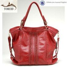 De color rojo de cuero de la pu de las señoras de mano/bolsos de hombro en el estilo casual caliente de la venta