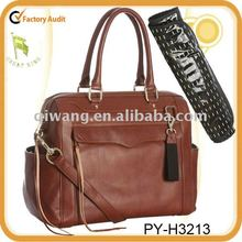 fashion tote leather diaper bag for baby