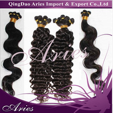 100% human remy european hair hand tied weft hair weaving deep wave or body waves