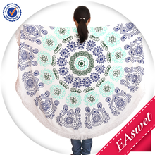 Extra Thick and Soft printed cotton Leaf Pattern Blue Color Round Beach Towels With White Tassels