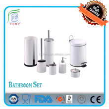 step bin/toilet brush/sapo dispenser/ tooth mug/--7pcs bathroom set in shining white powder coating