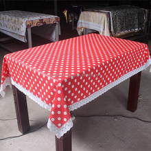 PVC Printed Lace Edge Table Cloth with Flannel Backing
