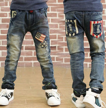 ma003 2015 wholesale winter fashion hot sale new flag stripes pocket thicken keeping warm boys cool jeans trousers